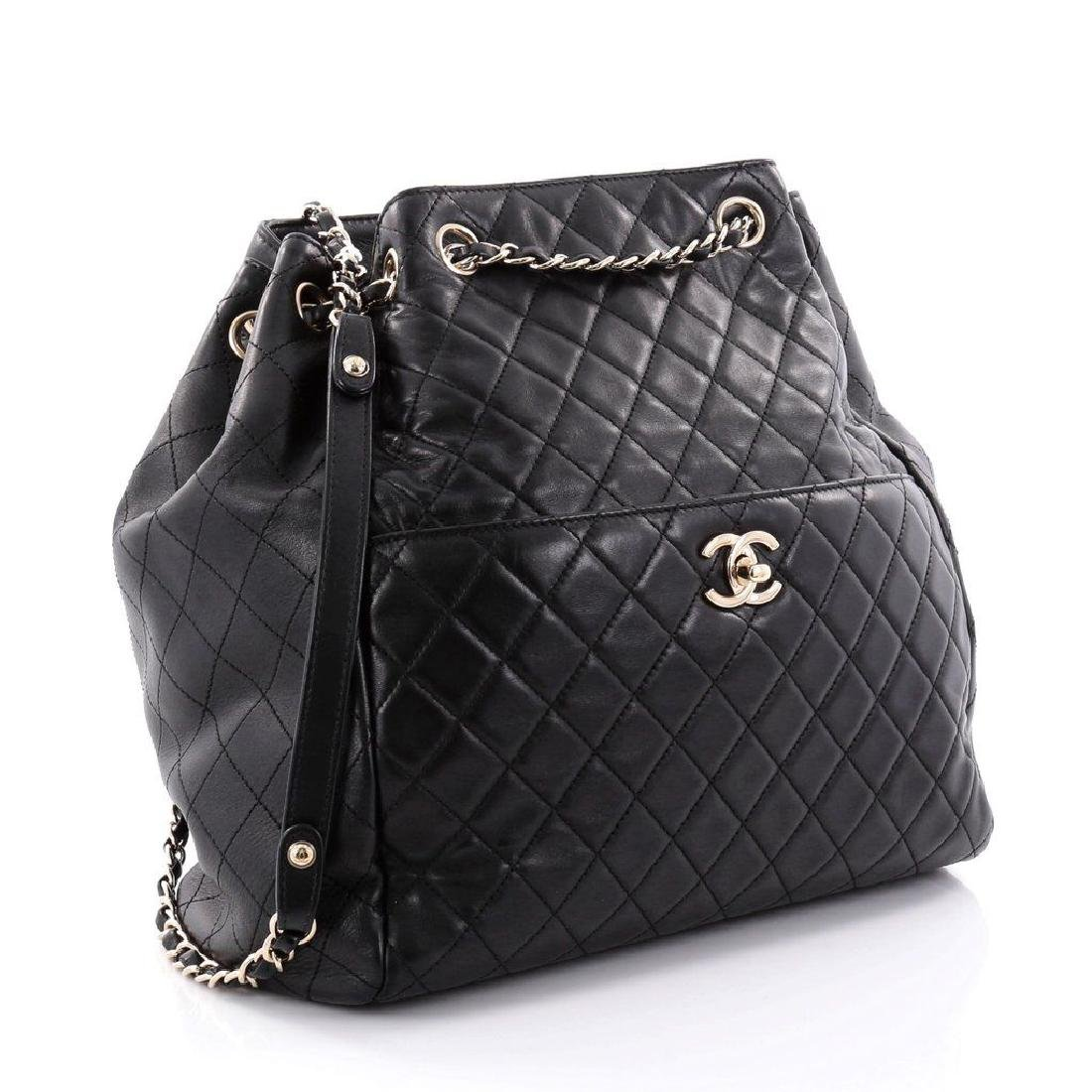 Chanel Lambskin Classic CC Drawstring Black Bucket Bag - 4