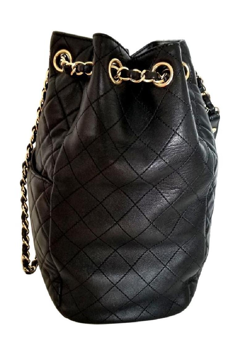 Chanel Lambskin Classic CC Drawstring Black Bucket Bag - 5