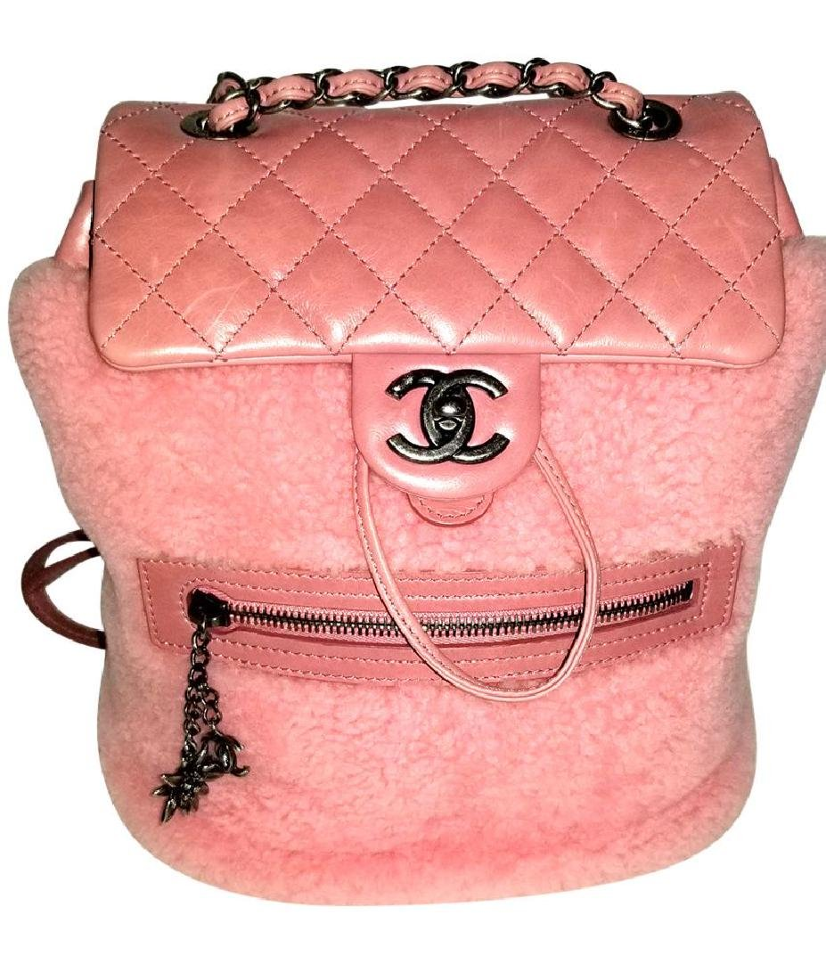 Authentic Chanel Backpack Pink Shearling Quilted