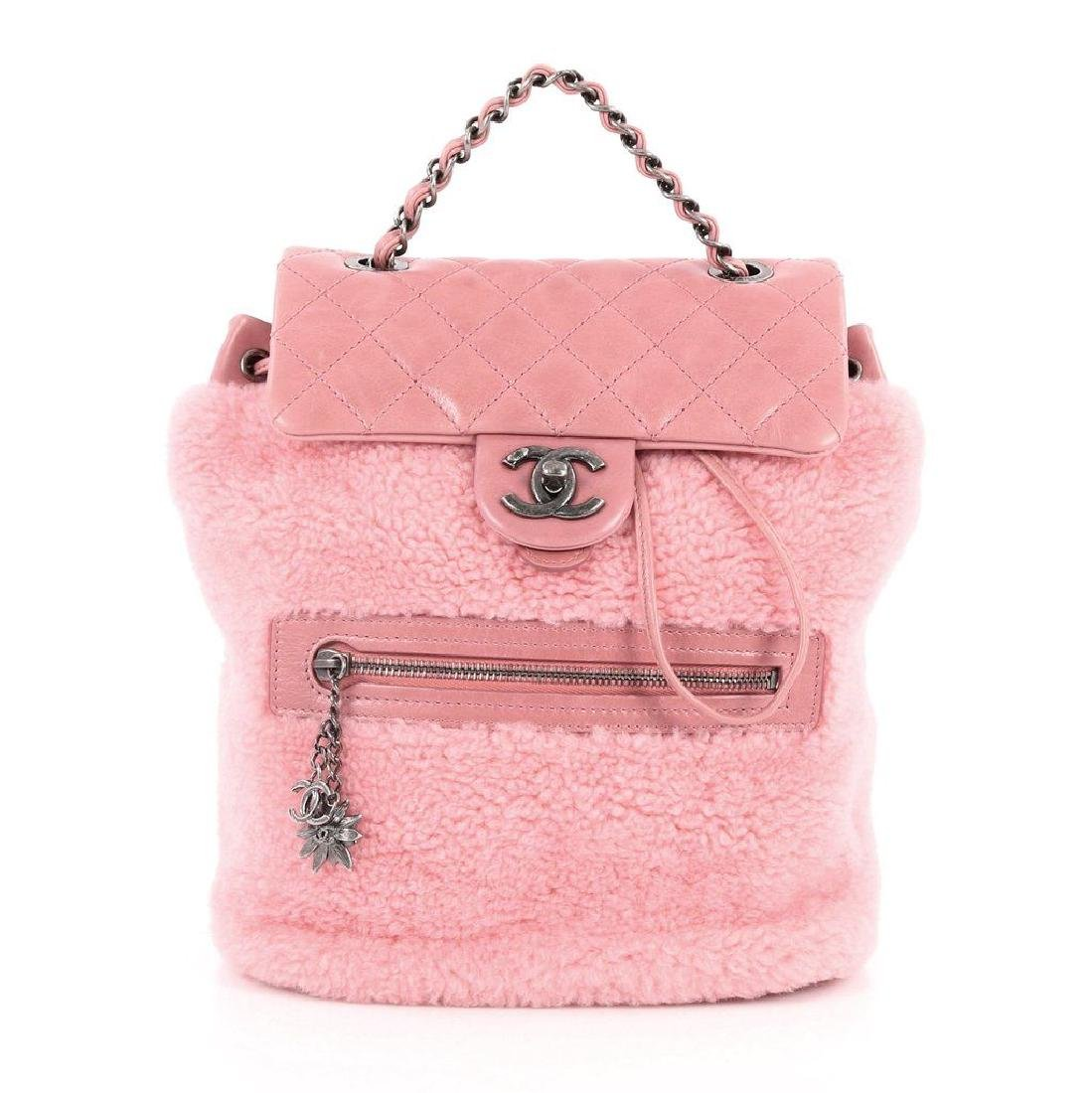 Authentic Chanel Backpack Pink Shearling Quilted - 3