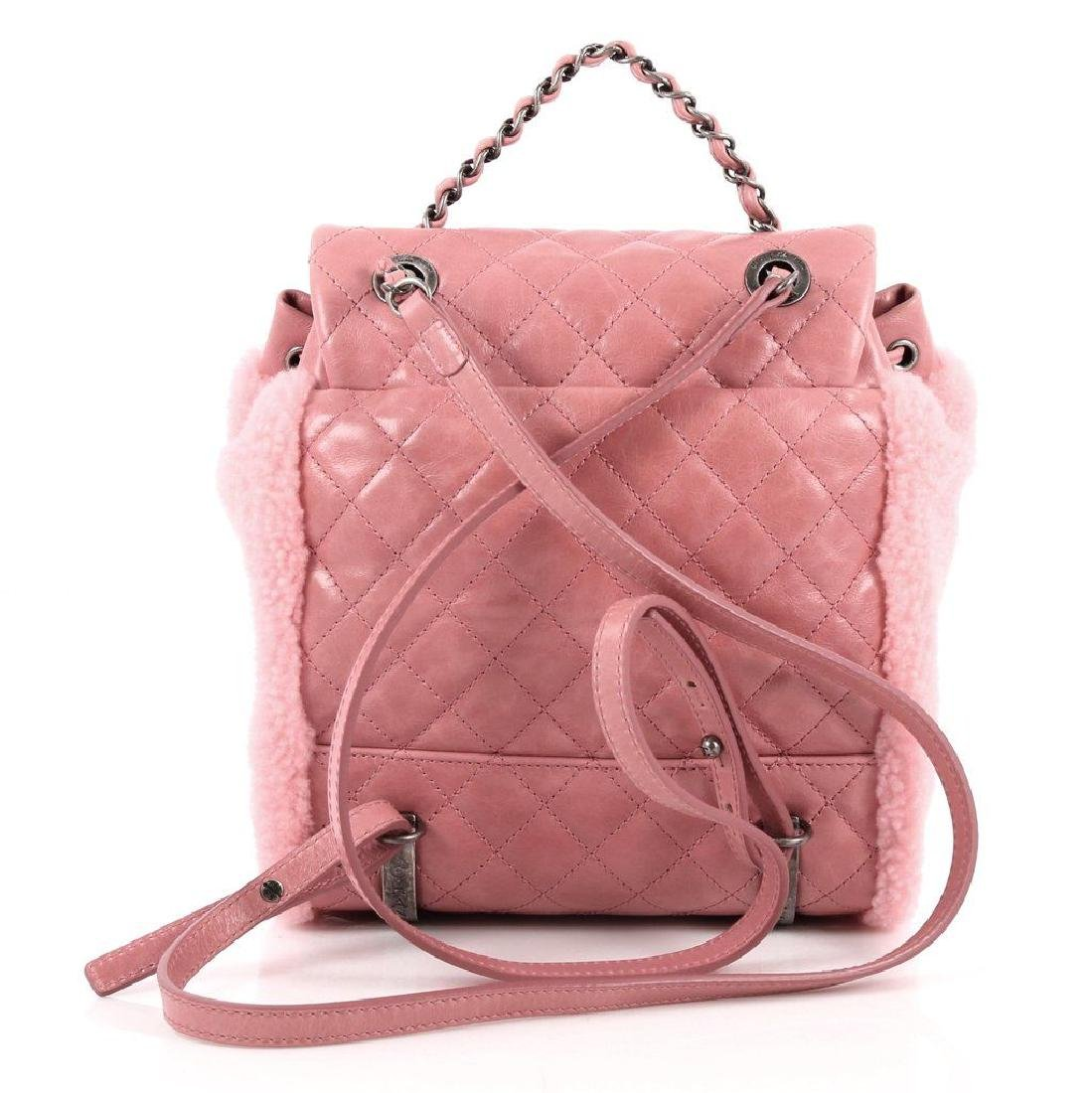 Authentic Chanel Backpack Pink Shearling Quilted - 4