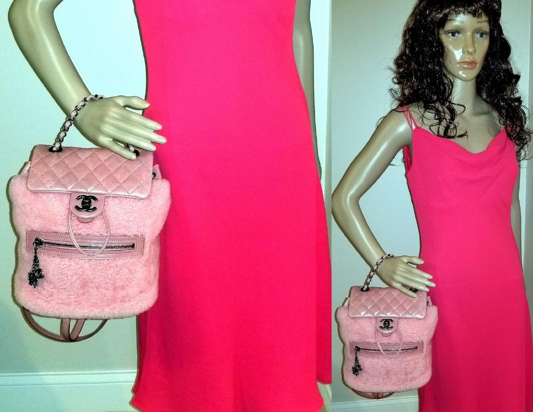 Authentic Chanel Backpack Pink Shearling Quilted - 7