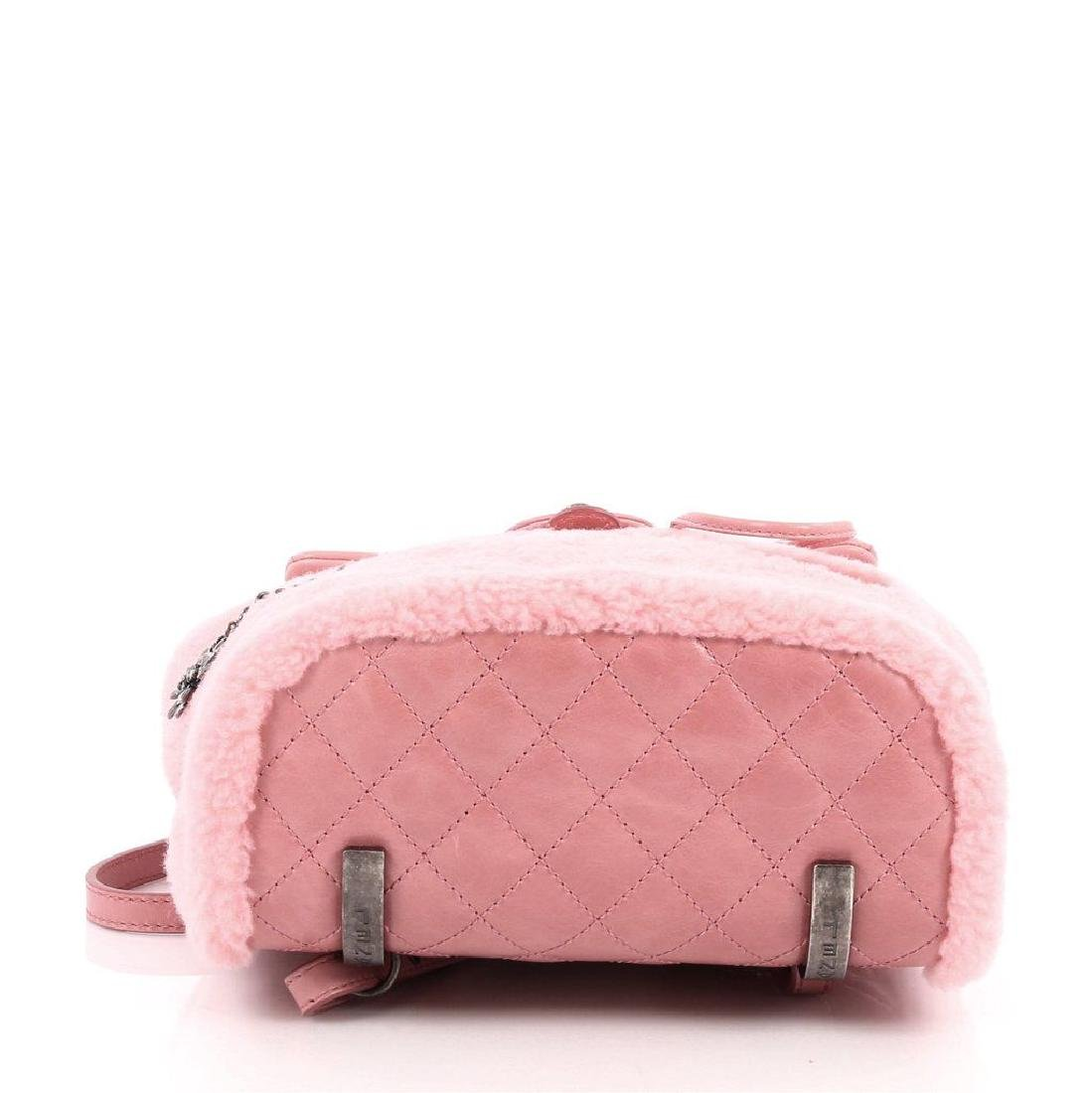 Authentic Chanel Backpack Pink Shearling Quilted - 8