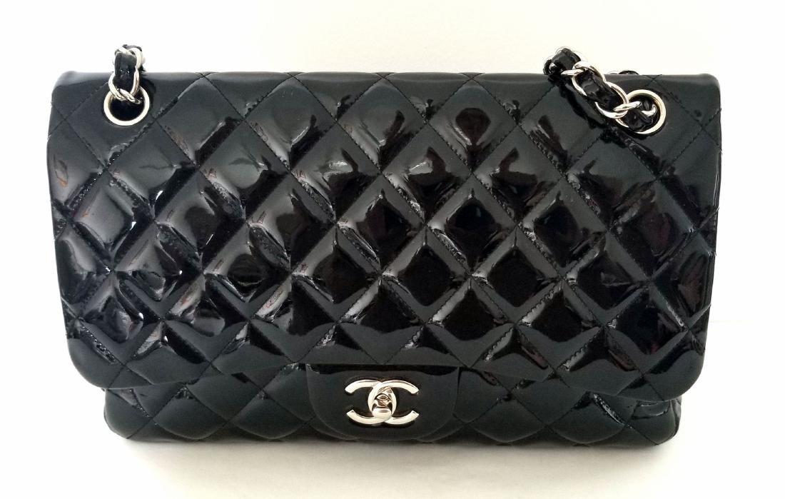 Classic Double Flap Jumbo Maxi Black Patent Leather