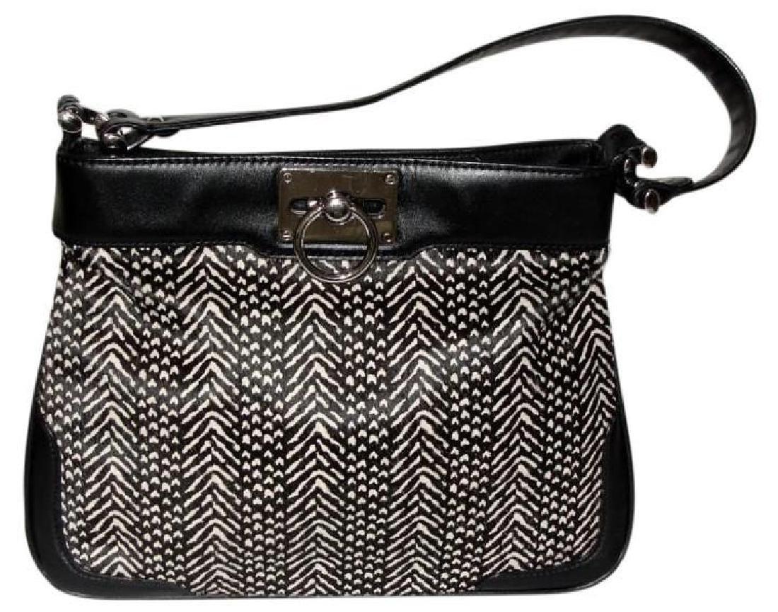 Ann Taylor Classic Fur Black and White Shoulder Bag