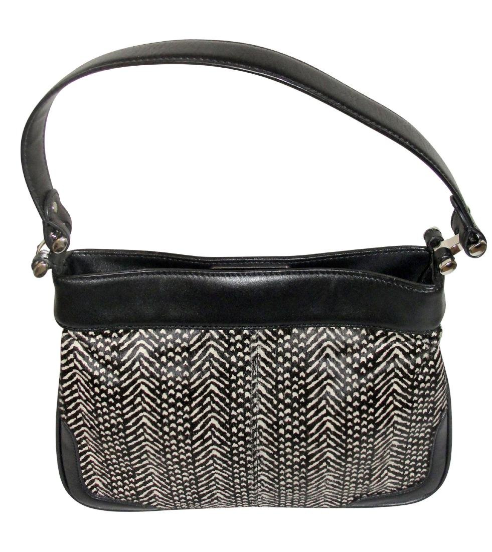 Ann Taylor Classic Fur Black and White Shoulder Bag - 2