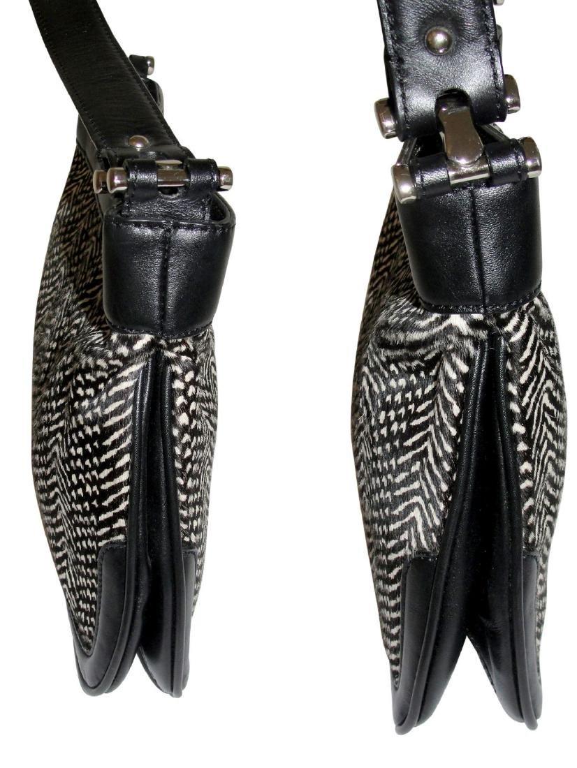 Ann Taylor Classic Fur Black and White Shoulder Bag - 4