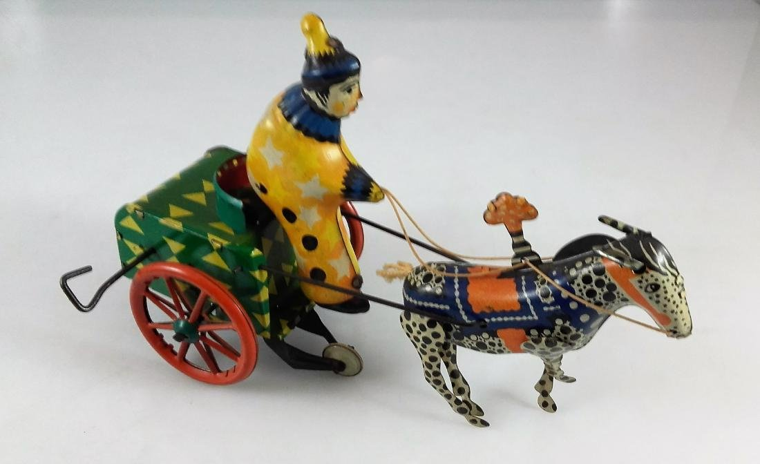 WIND UP CLOWN ON CART WITH DONKEY - 2