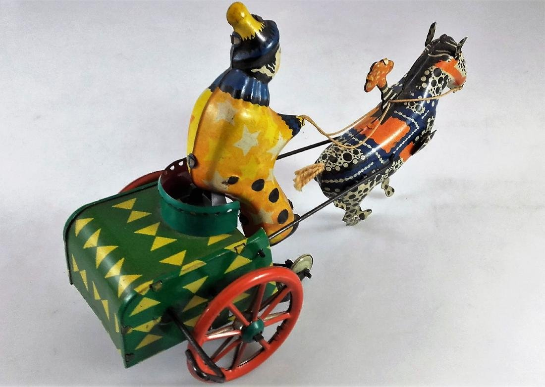 WIND UP CLOWN ON CART WITH DONKEY - 3