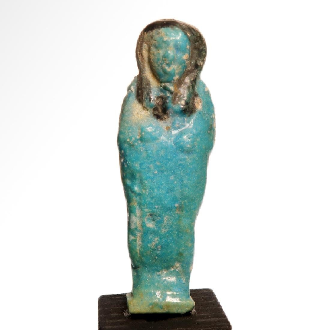 Egyptian Faience Bichrome Shabti, Early 26th Dynasty,