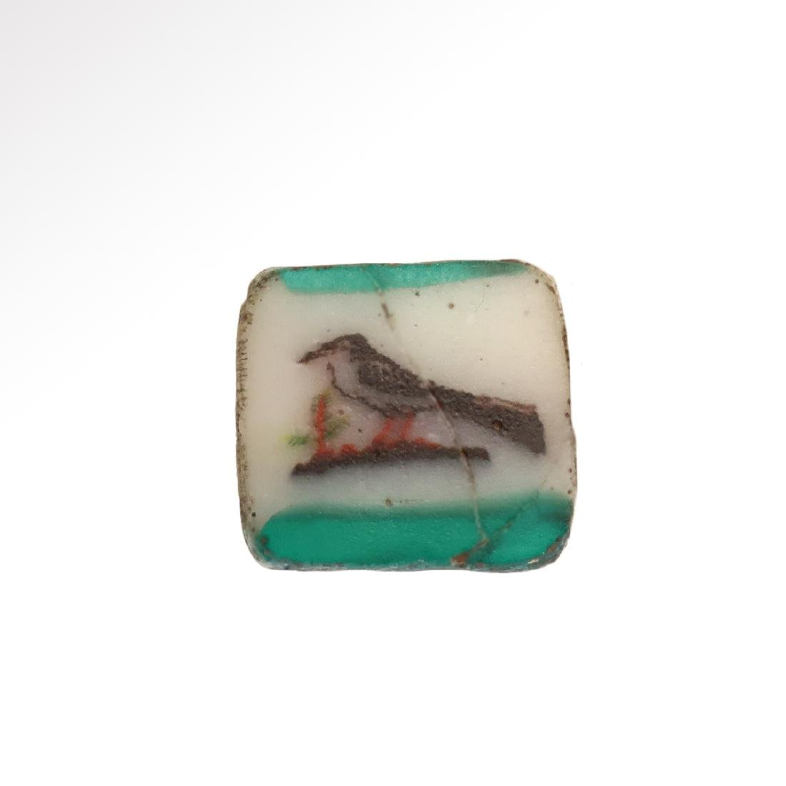 Egyptian Mosaic Glass Plaque Inlay with Swallow Bird