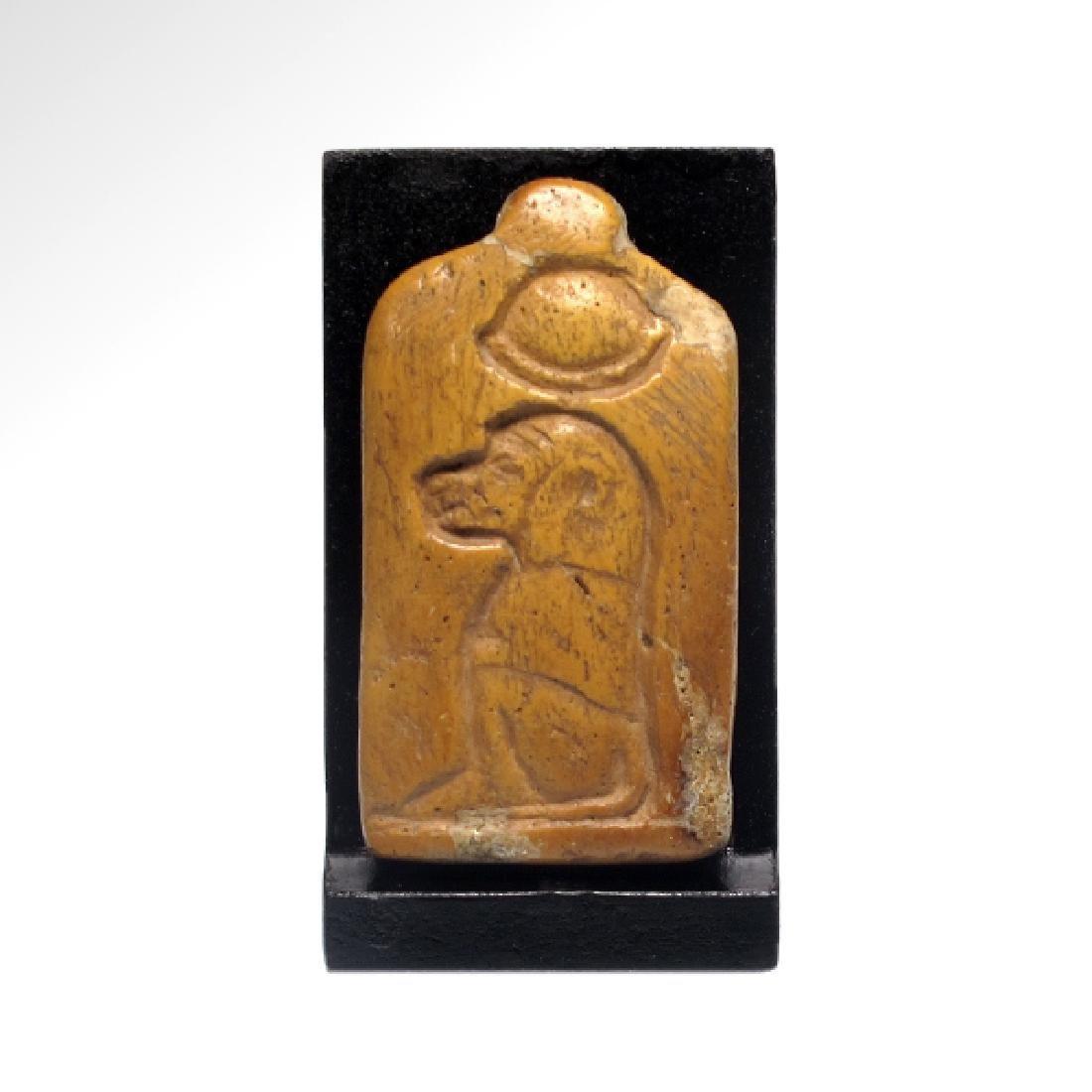 Egyptian Wood THOTH Baboon Pendant, c. 600 B.C.