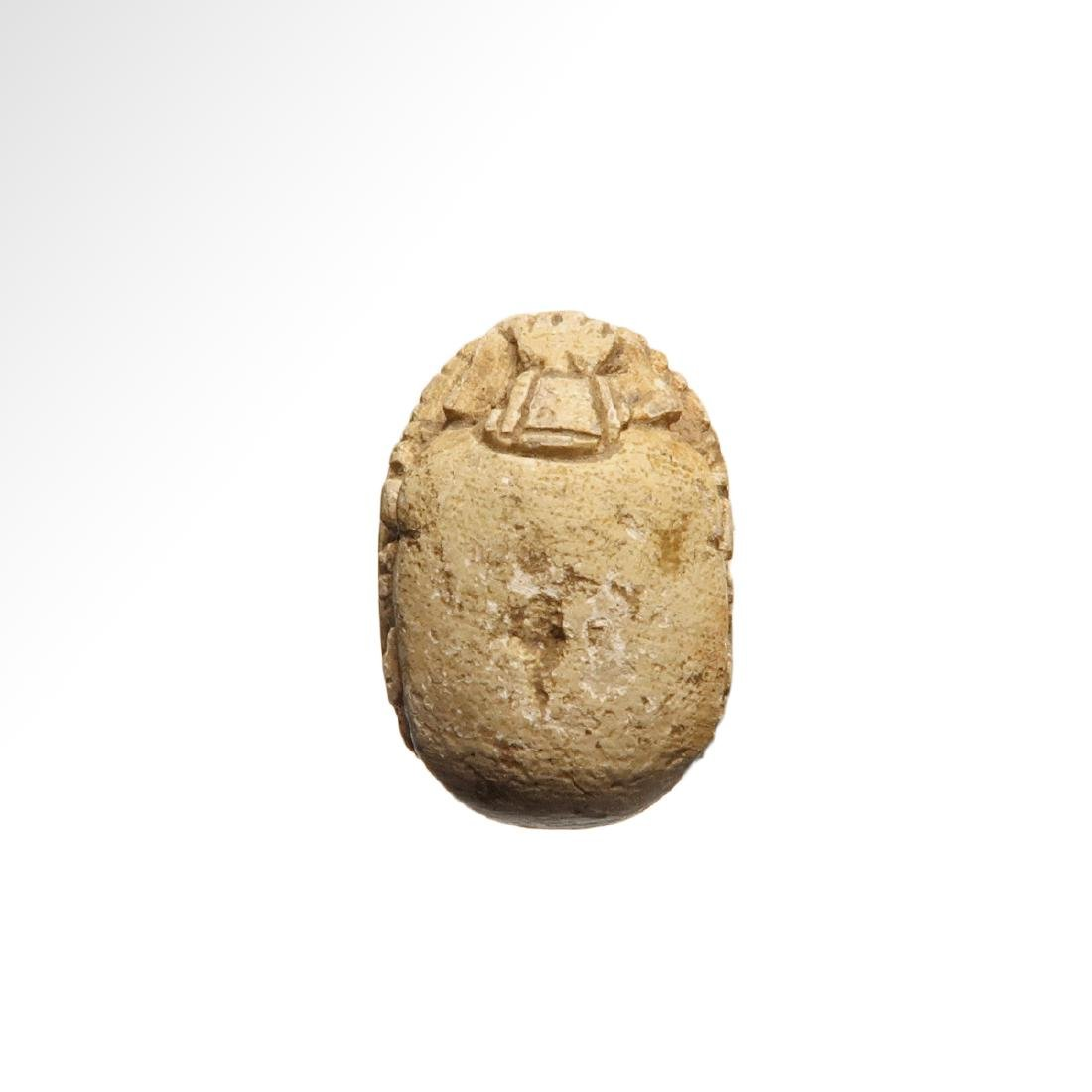 Egyptian Steatite Scarab, Hieroglyphs and Cartouche - 3