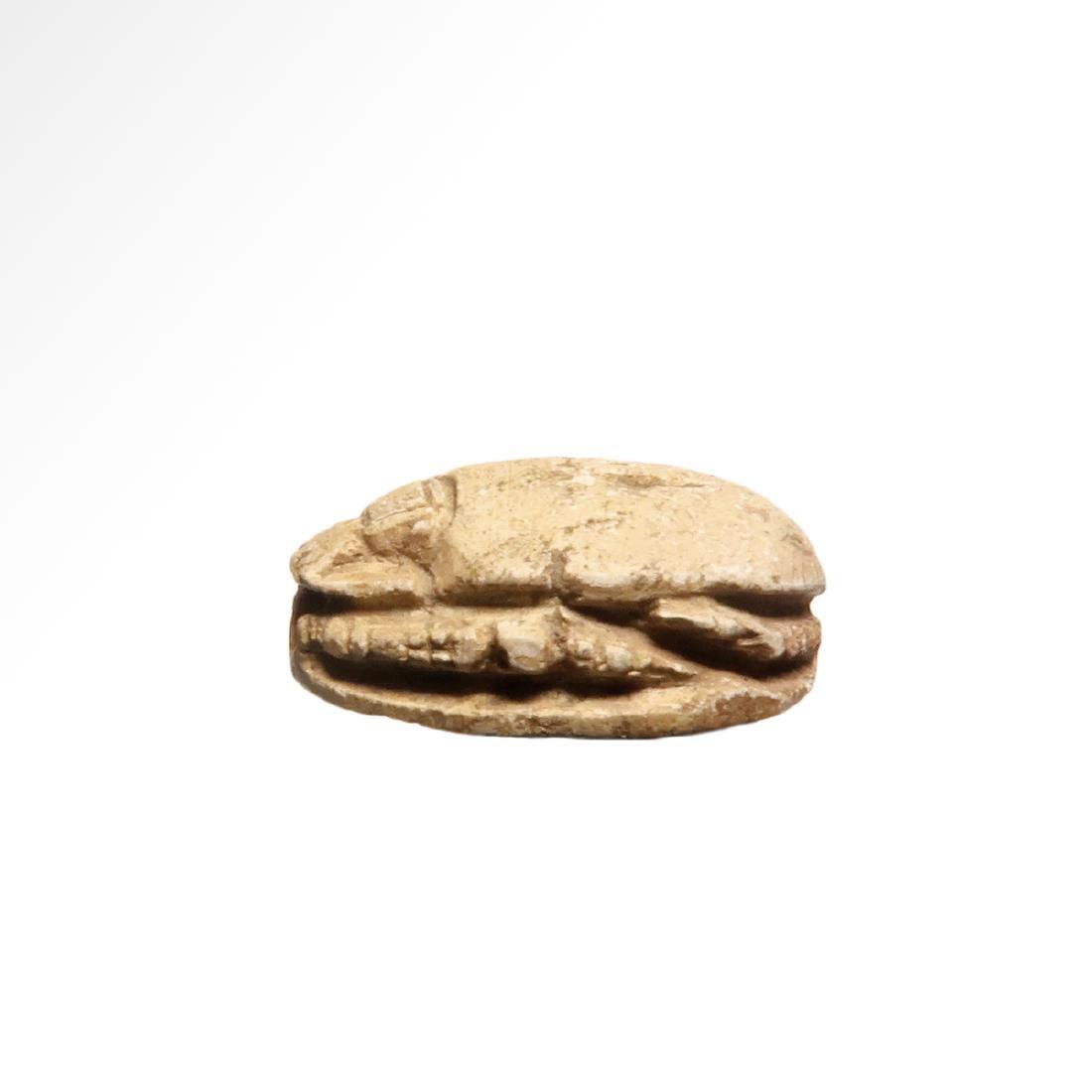 Egyptian Steatite Scarab, Hieroglyphs and Cartouche - 4