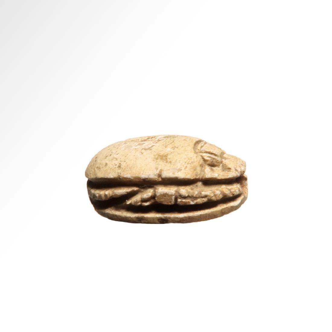 Egyptian Steatite Scarab, Hieroglyphs and Cartouche - 6