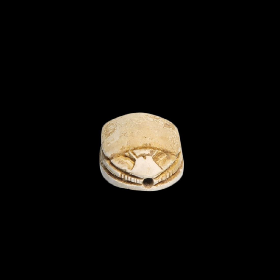 Egyptian Steatite Scarab with Horus and Eternity - 3