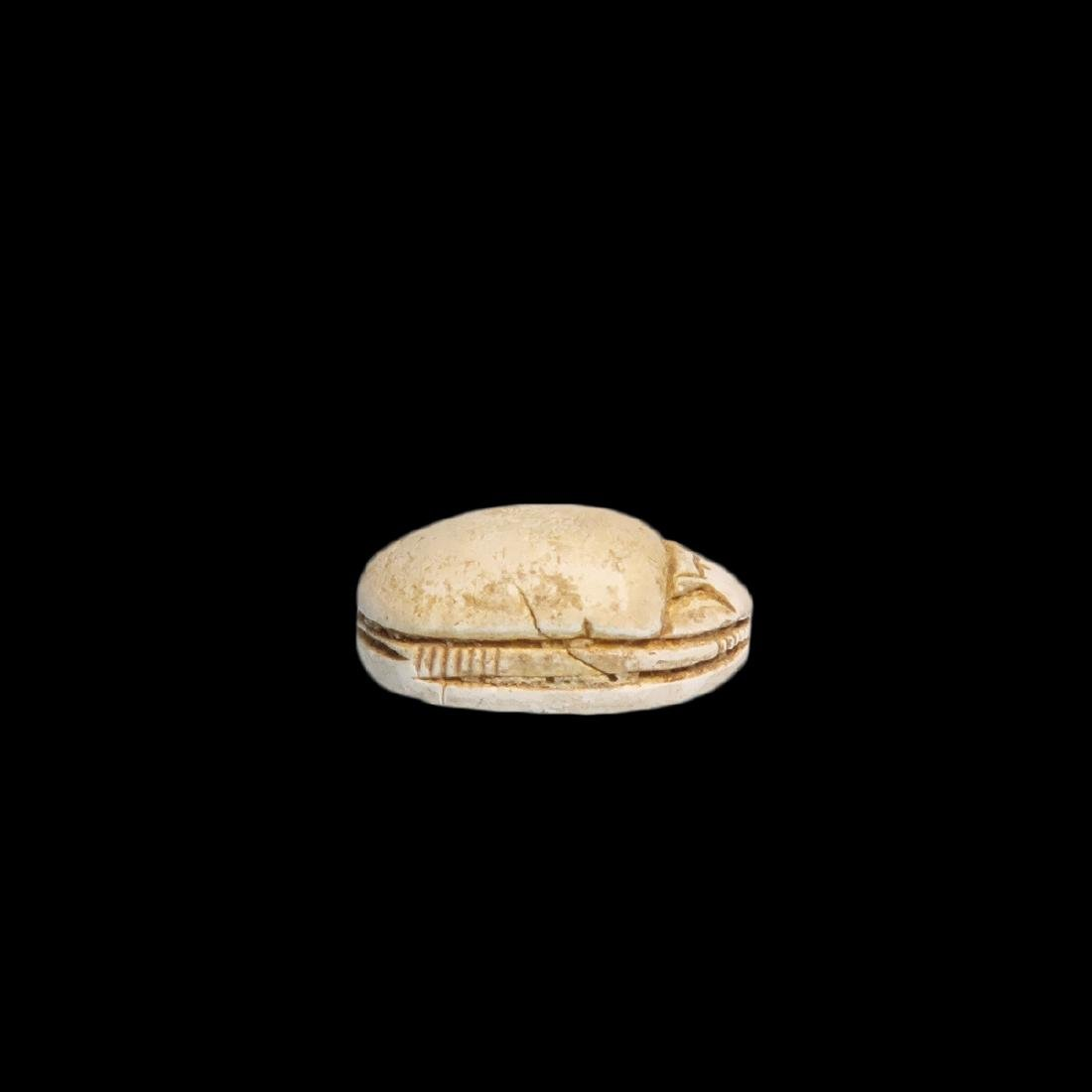 Egyptian Steatite Scarab with Horus and Eternity - 5