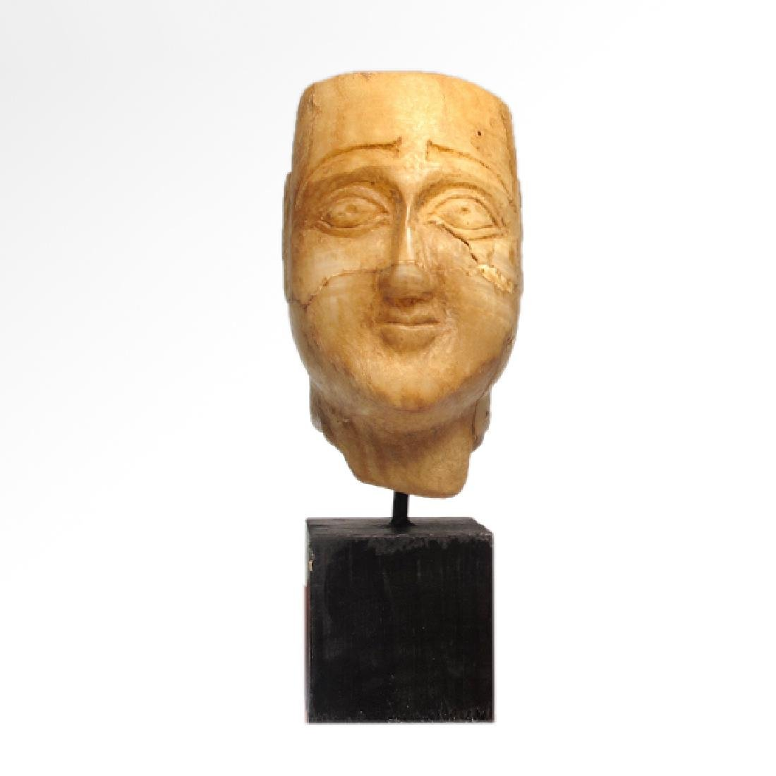 South Arabian Alabaster Head of a Man, c. 2nd-1st