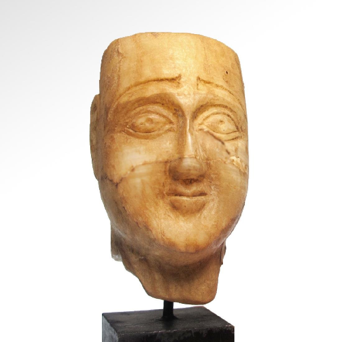 South Arabian Alabaster Head of a Man, c. 2nd-1st - 2