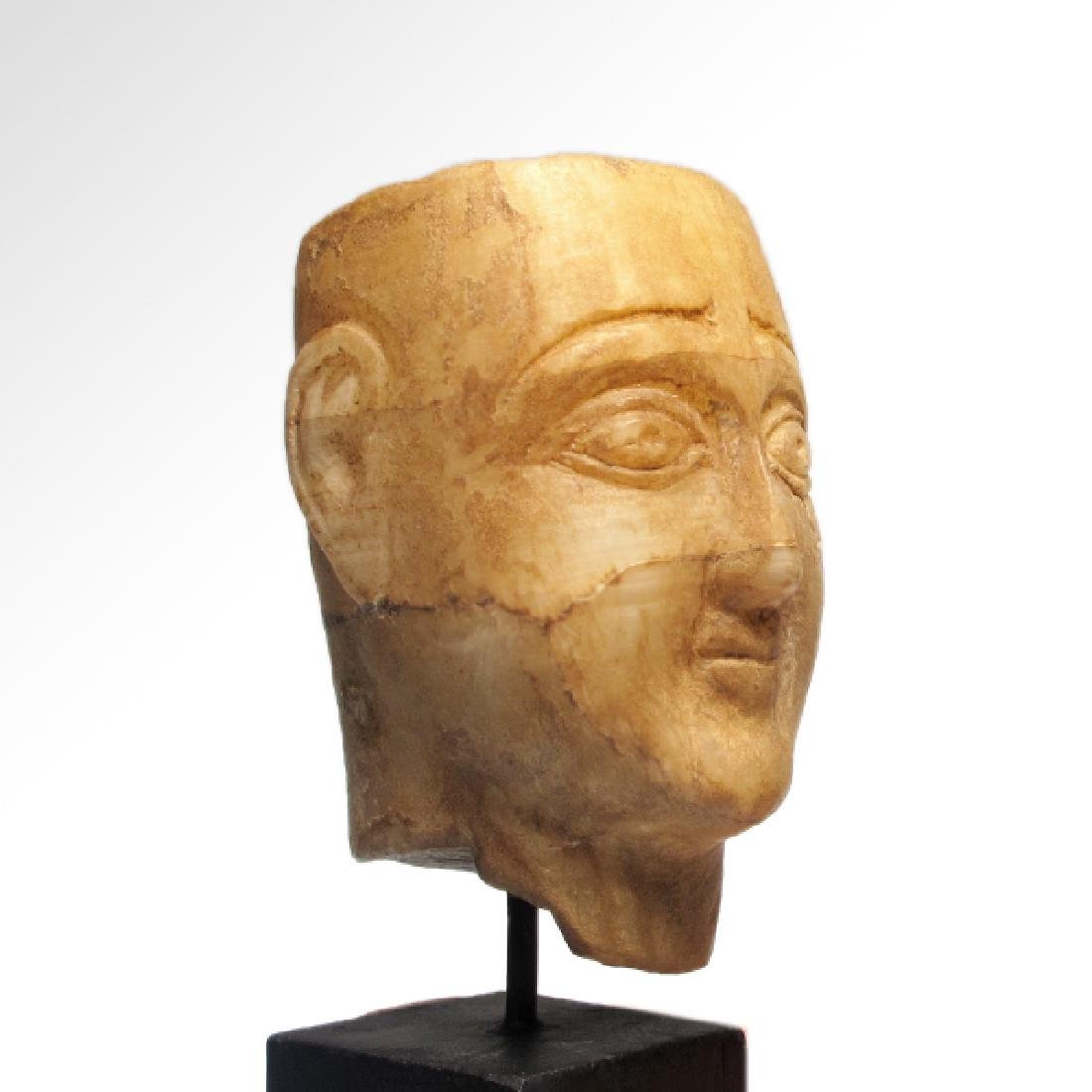 South Arabian Alabaster Head of a Man, c. 2nd-1st - 4