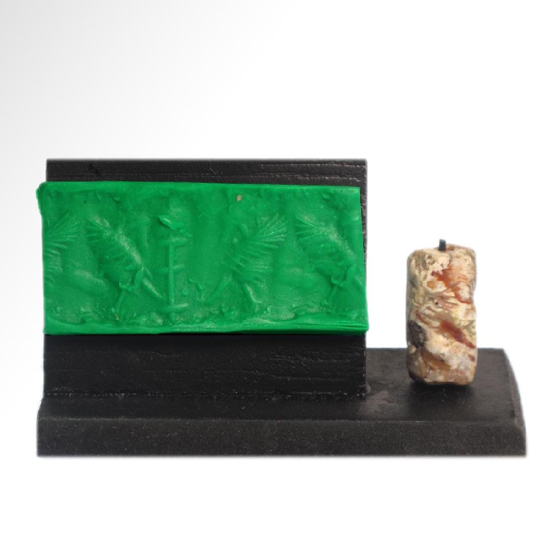 Neo-Babylonian Agate Cylinder Seal with 'Bird-Man',  c.