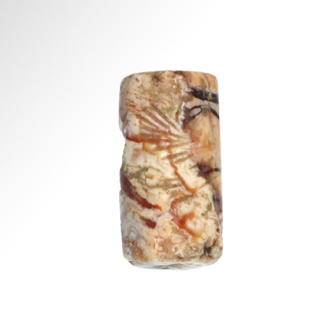 Neo-Babylonian Agate Cylinder Seal with 'Bird-Man',  c. - 2