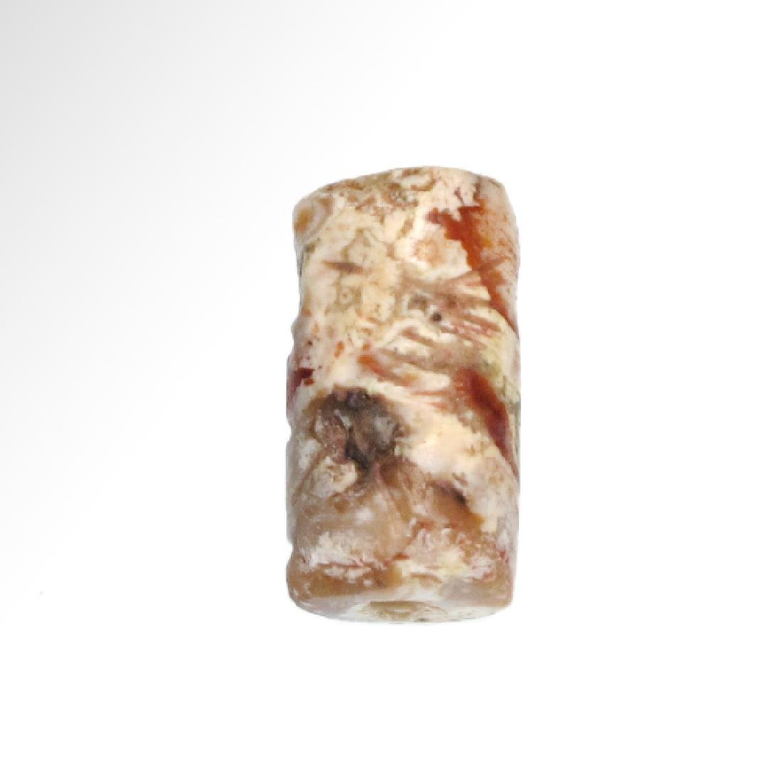 Neo-Babylonian Agate Cylinder Seal with 'Bird-Man',  c. - 4