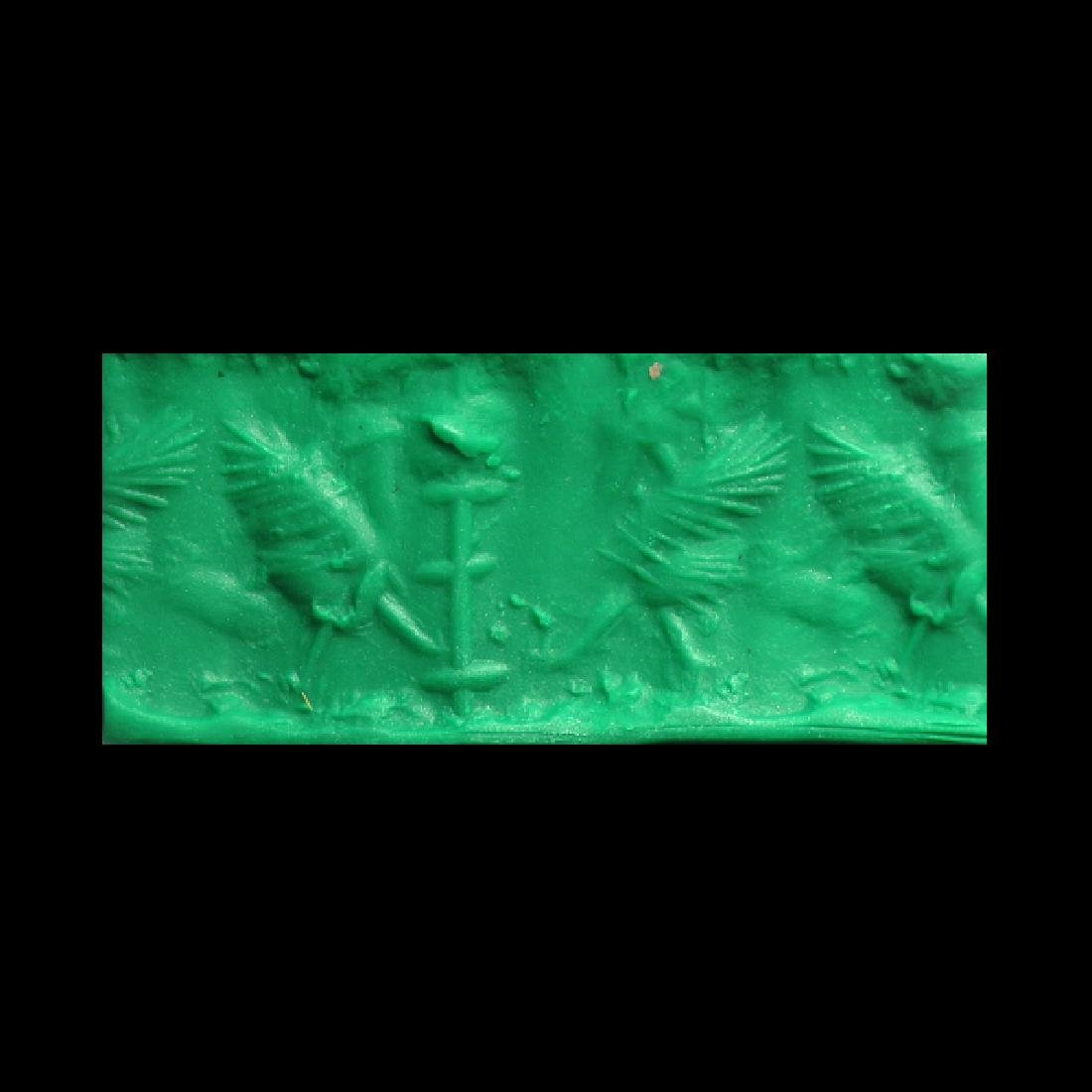 Neo-Babylonian Agate Cylinder Seal with 'Bird-Man',  c. - 5