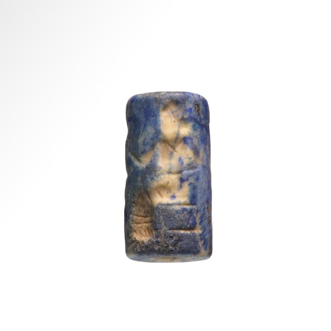 Assyrian Cylinder Seal, Deity and Winged Animals - 2