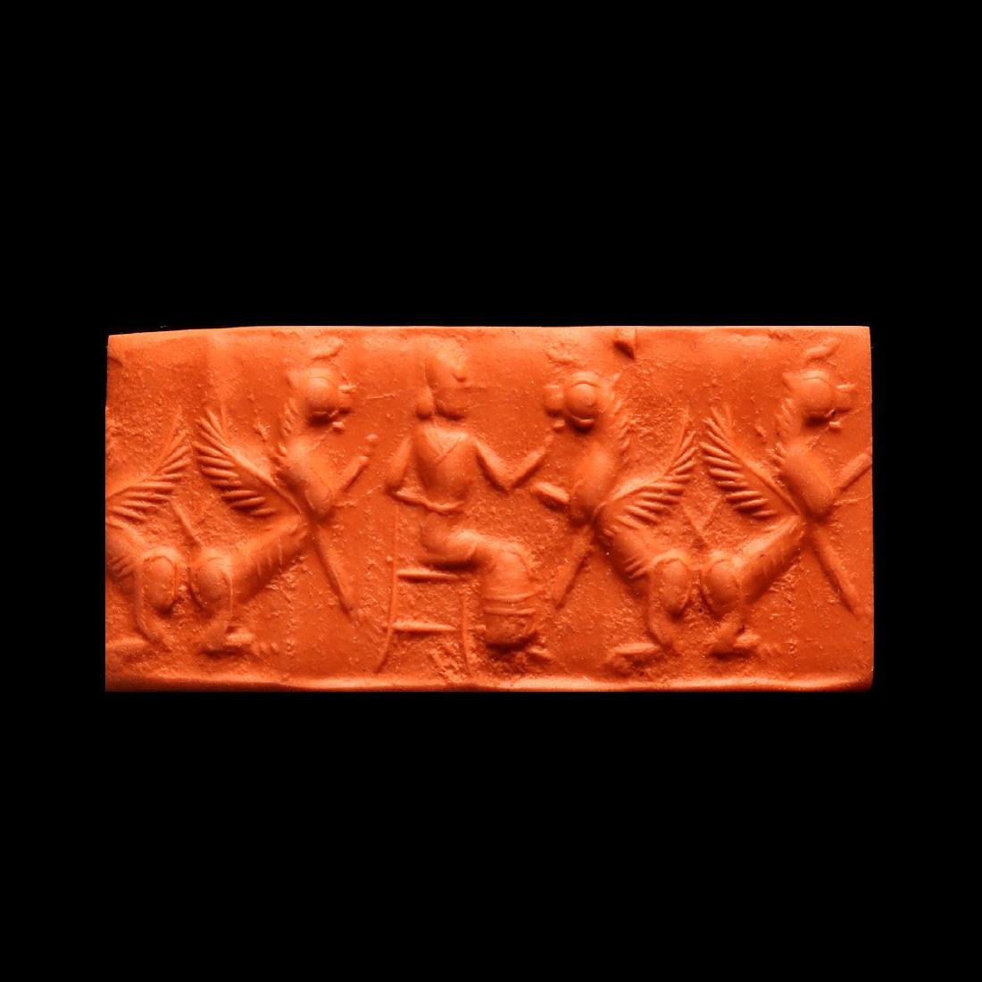 Assyrian Cylinder Seal, Deity and Winged Animals - 4