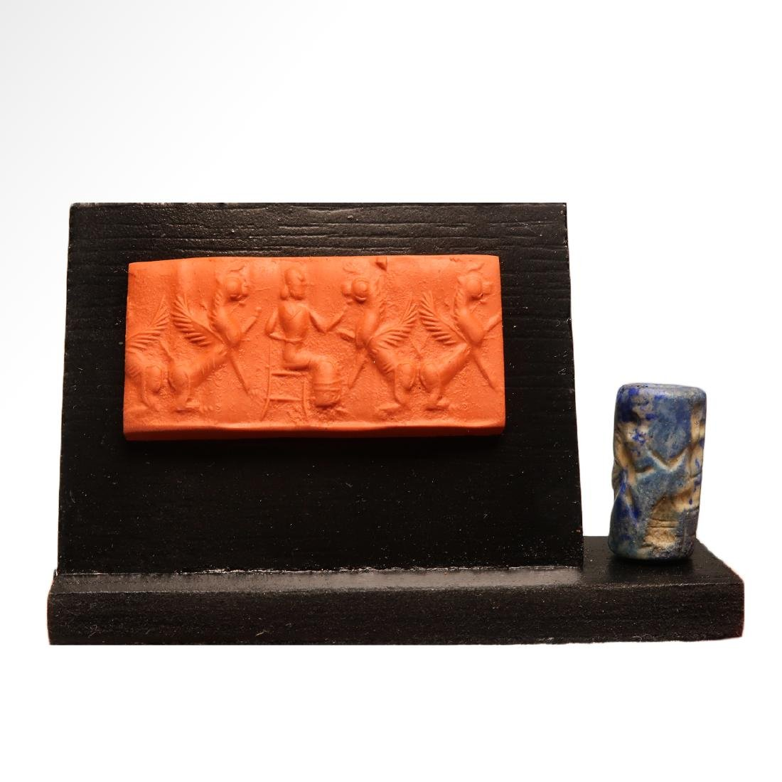 Assyrian Cylinder Seal, Deity and Winged Animals - 5