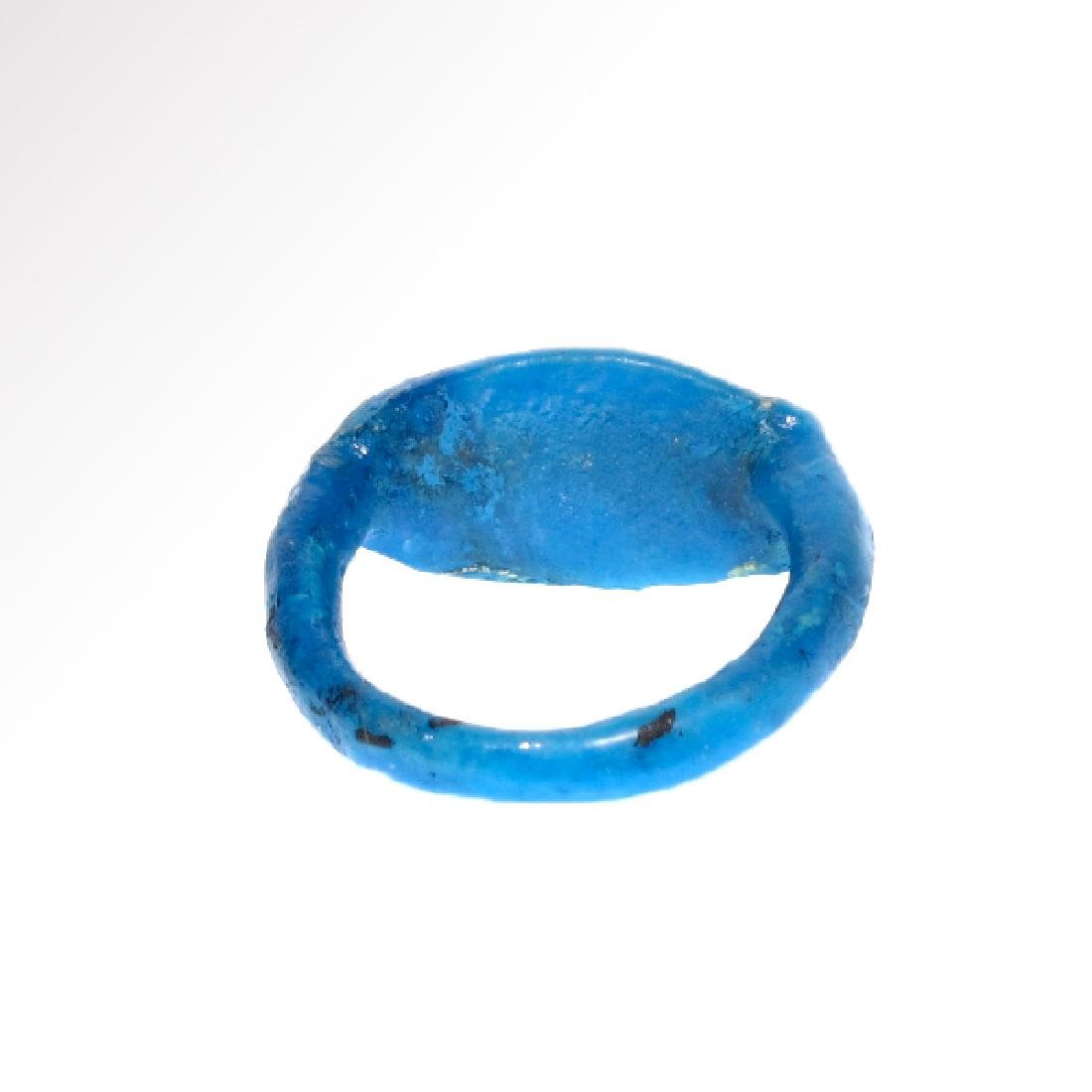 Egyptian Faience Ring with Lotus Flower, Amarna Period, - 5