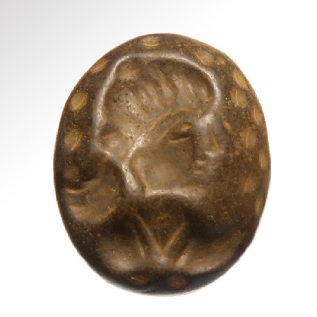 Sassanian Hematite Intaglio, Head of a Lady - 2
