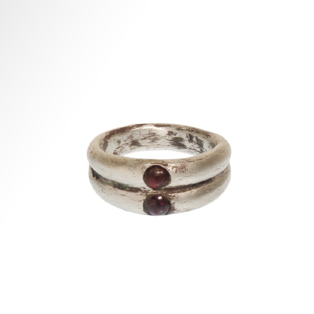 Roman Double Silver Ring with Garnets, c. 3rd Century