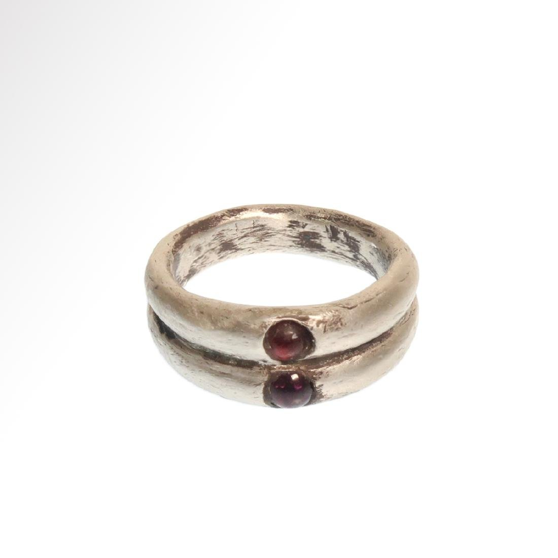 Roman Double Silver Ring with Garnets, c. 3rd Century - 3