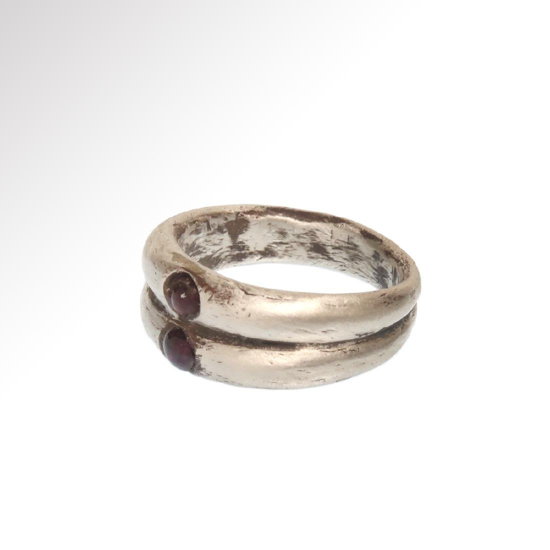 Roman Double Silver Ring with Garnets, c. 3rd Century - 5