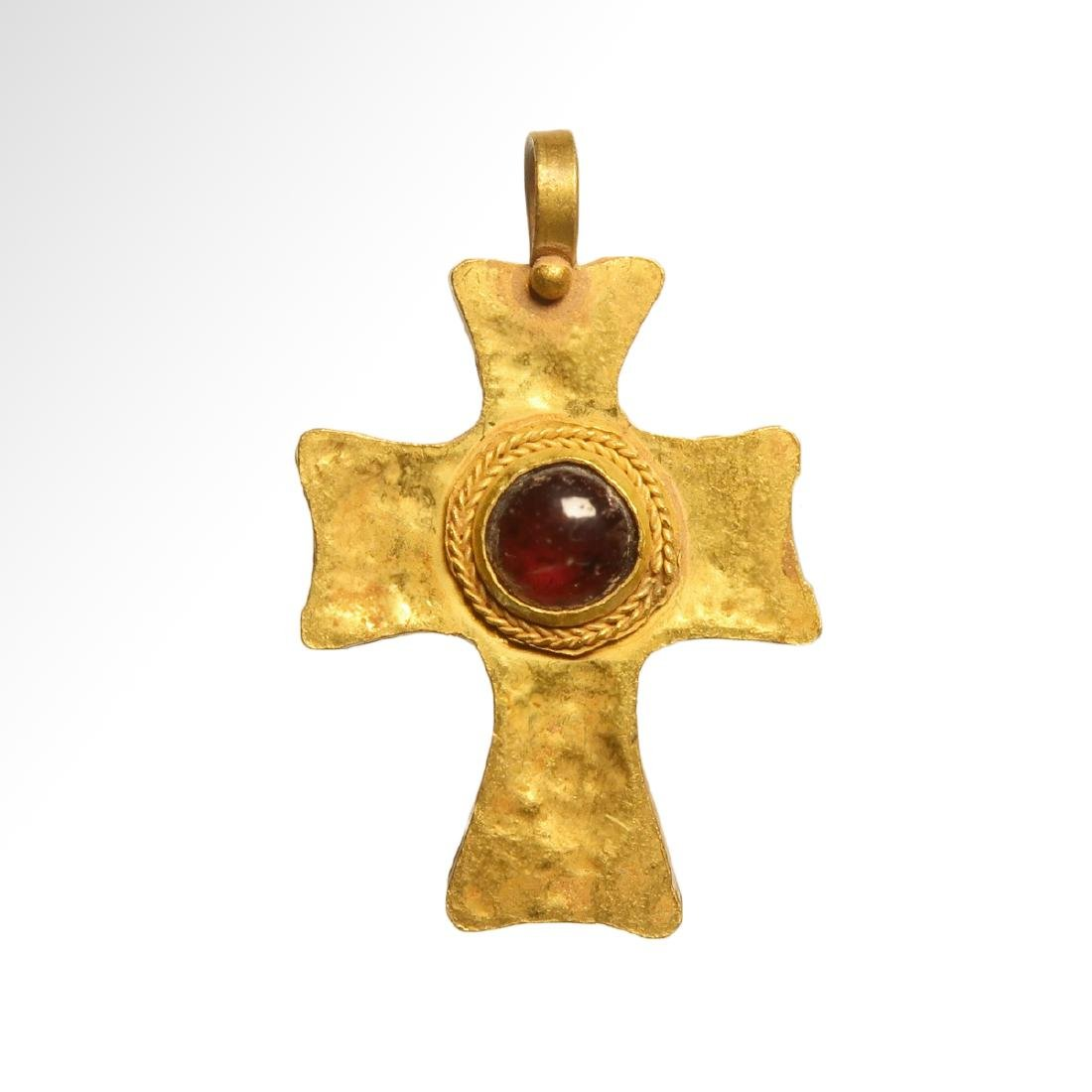 Byzantine Gold and Garnet Cross, 7th-9th Century A.D.