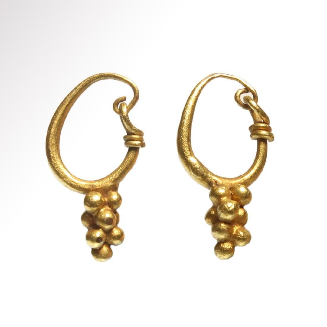Roman Gold Earrings with Grape Drops, c. 1st - 3rd