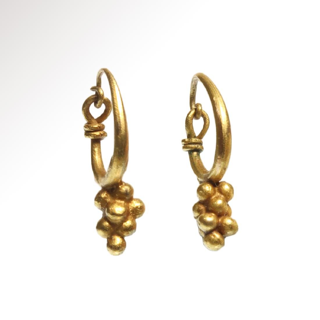Roman Gold Earrings with Grape Drops, c. 1st - 3rd - 3