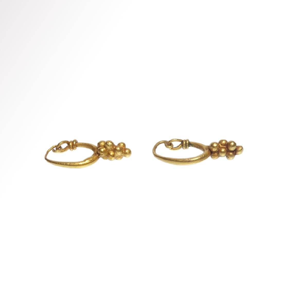 Roman Gold Earrings with Grape Drops, c. 1st - 3rd - 4