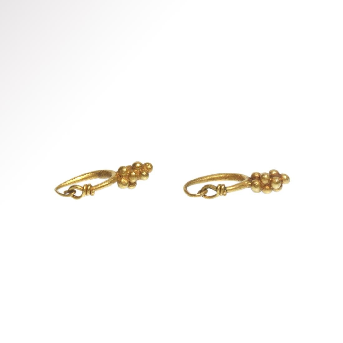 Roman Gold Earrings with Grape Drops, c. 1st - 3rd - 5