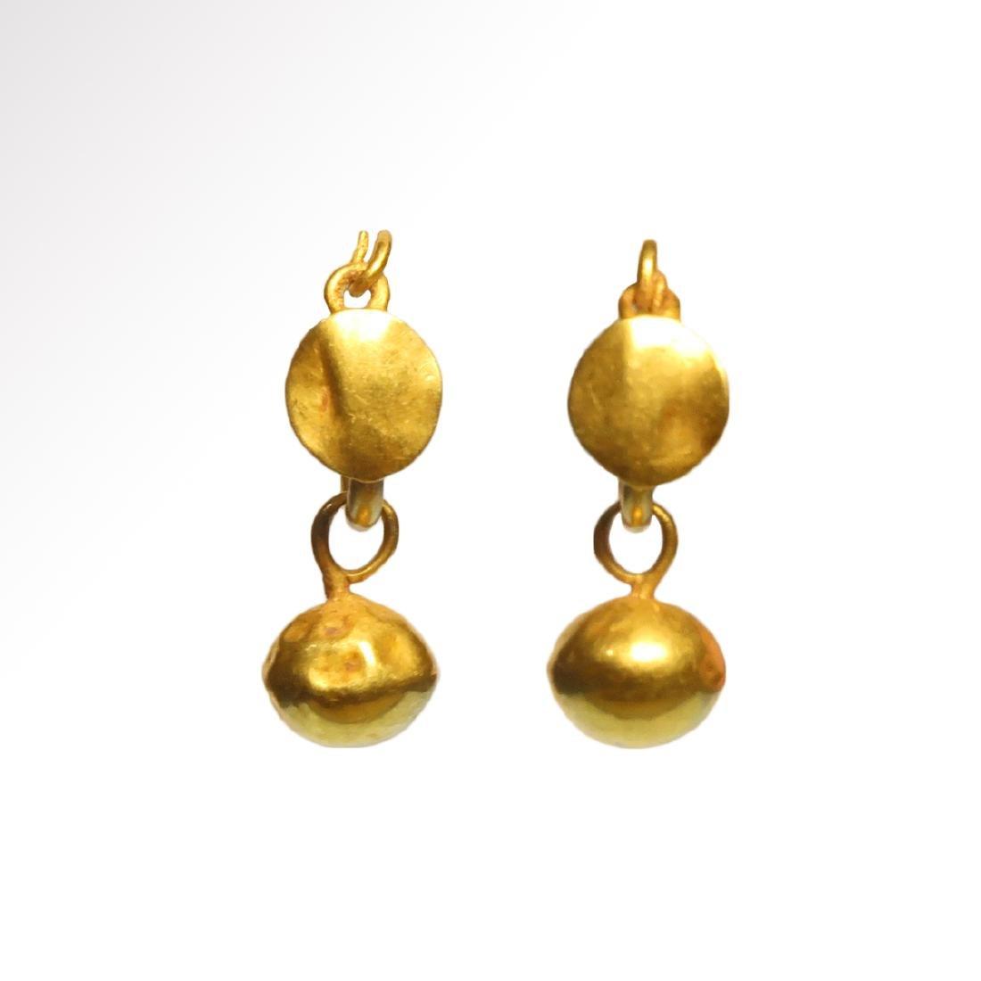 Roman Gold Hoop Earrings with Spherical Drops, c. 1st -