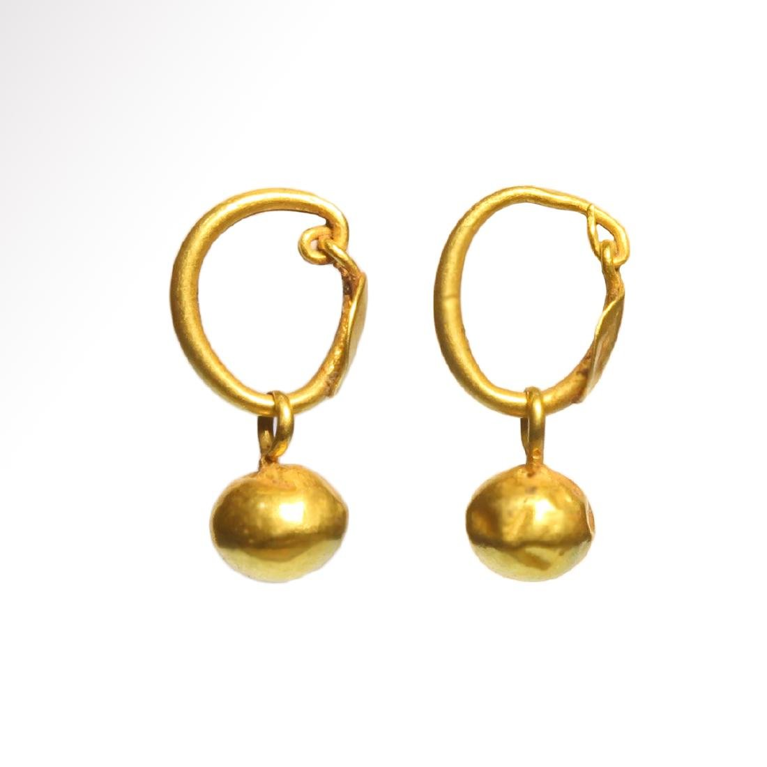 Roman Gold Hoop Earrings with Spherical Drops, c. 1st - - 2