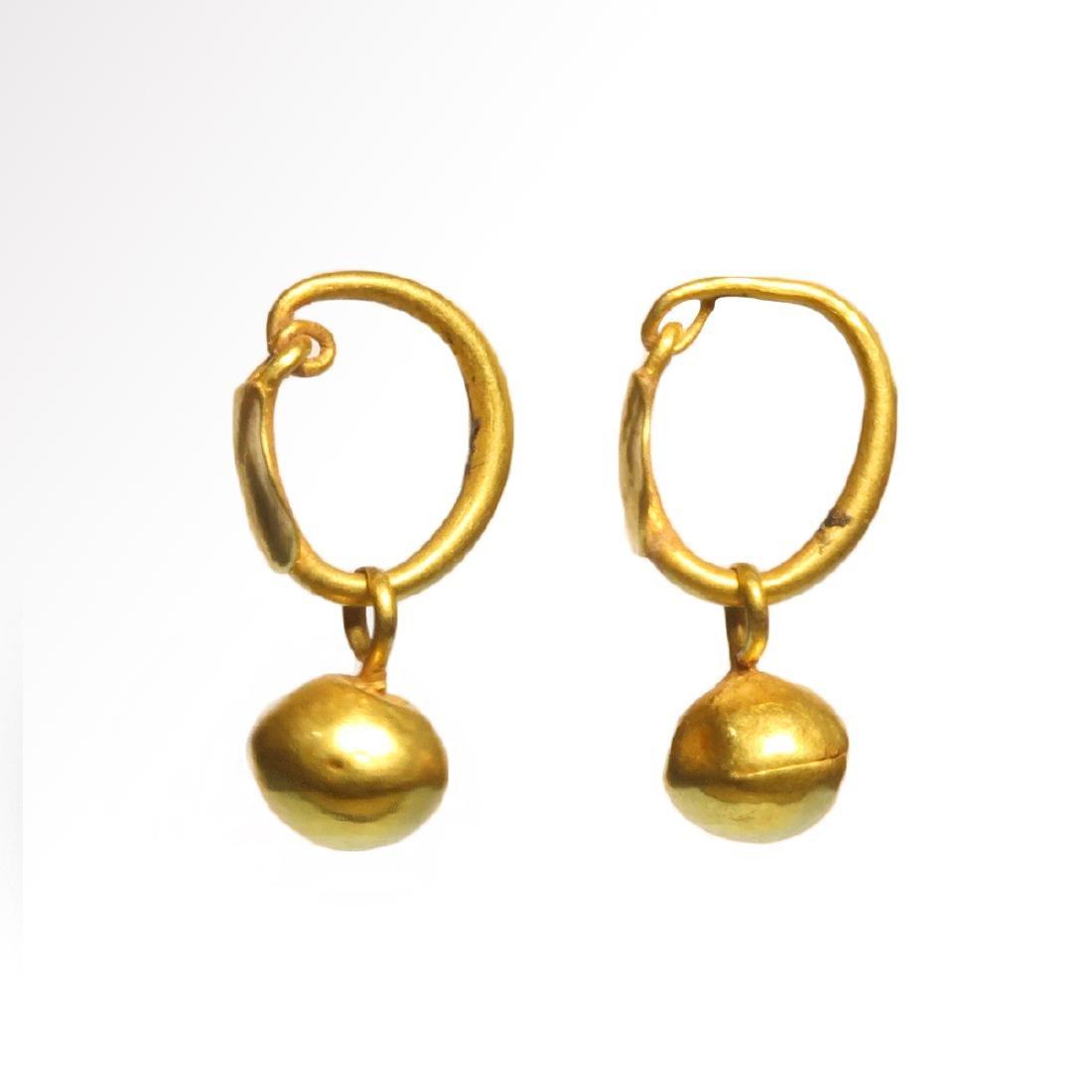 Roman Gold Hoop Earrings with Spherical Drops, c. 1st - - 3