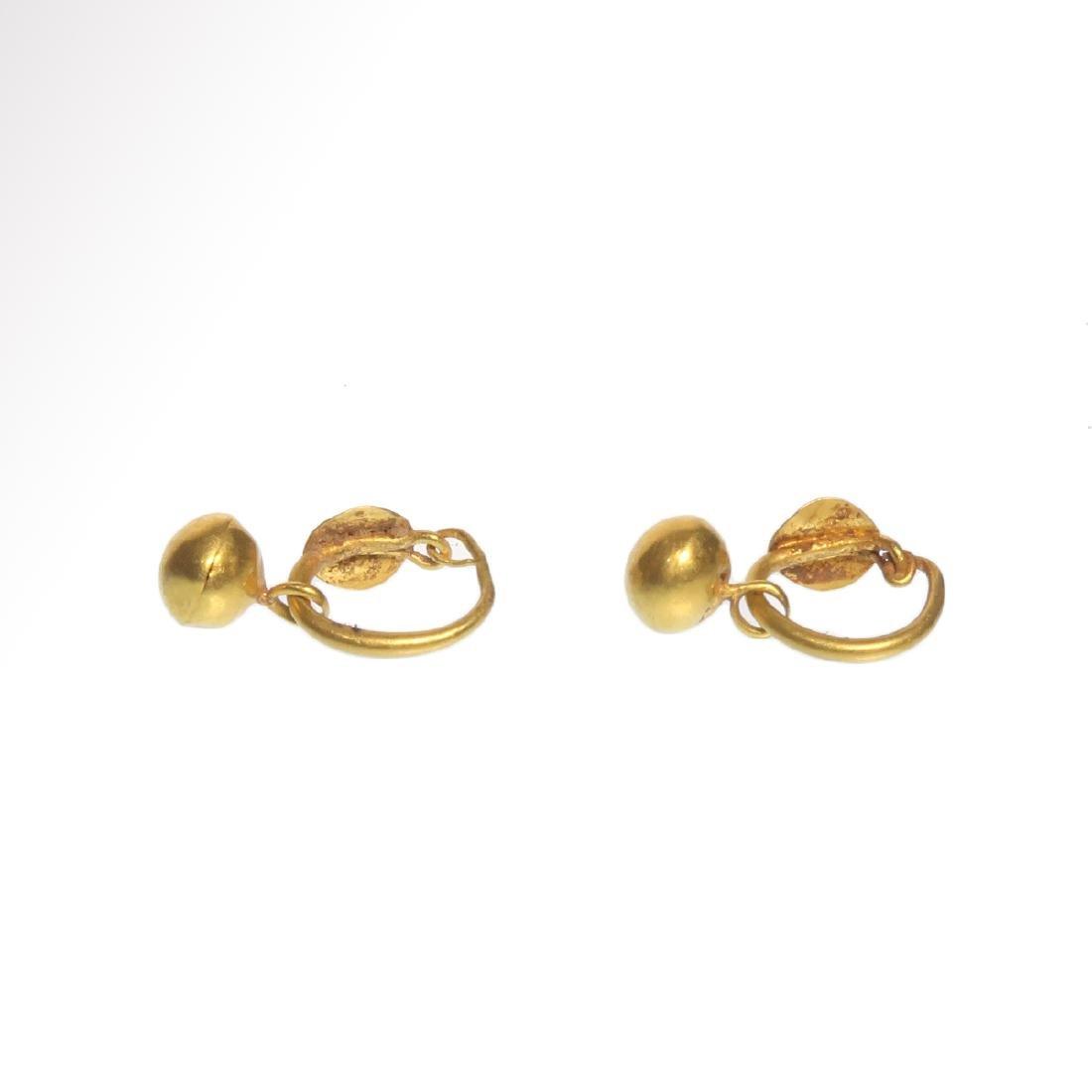 Roman Gold Hoop Earrings with Spherical Drops, c. 1st - - 5
