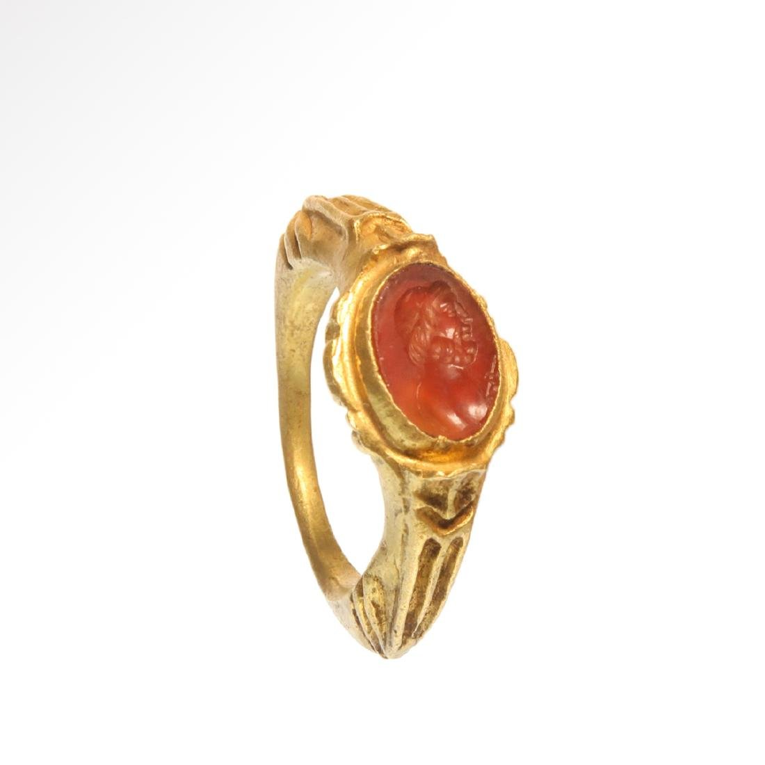 Roman Gold Ring with Cornelian Intaglio Engraved with