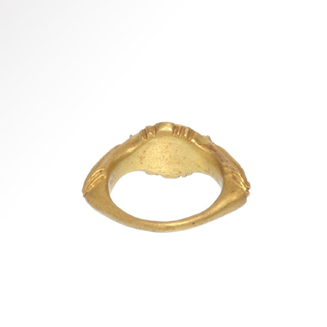 Roman Gold Ring with Cornelian Intaglio Engraved with - 6