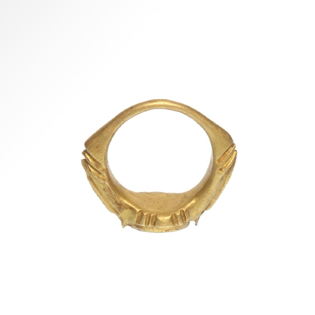 Roman Gold Ring with Cornelian Intaglio Engraved with - 7