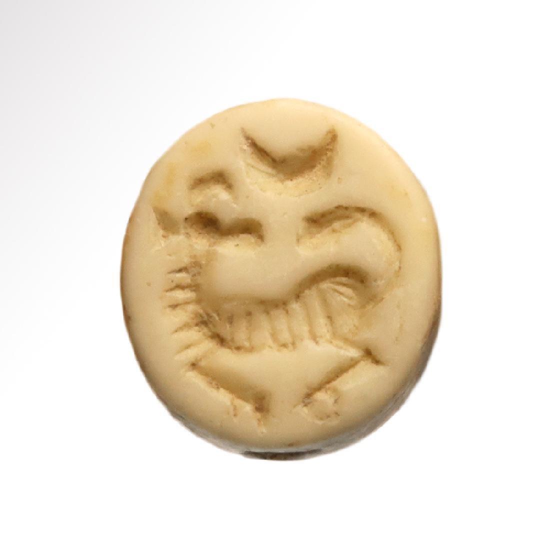 Phoenician Yellow Steatite Seal with Ram, c. 600-500
