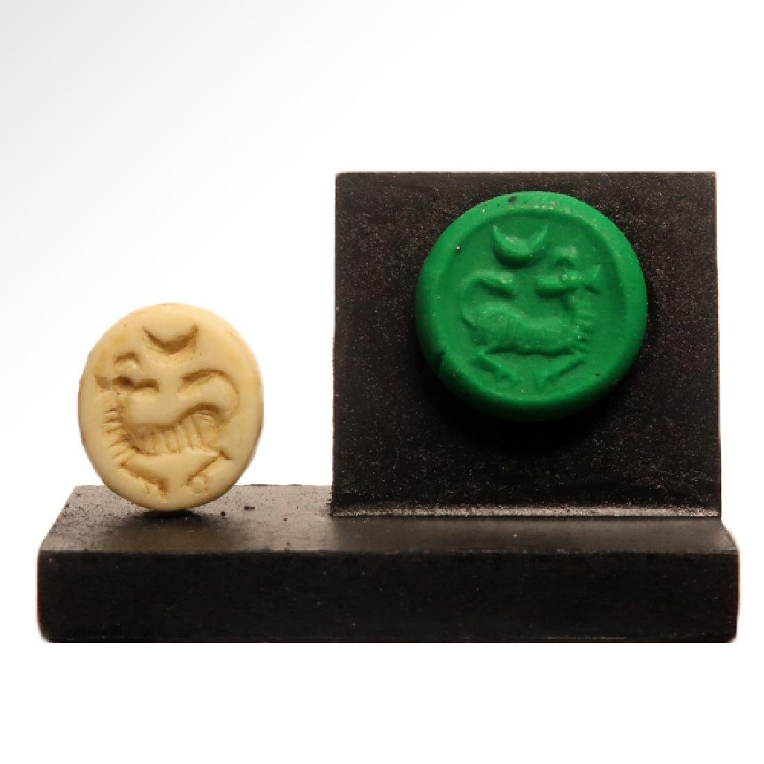 Phoenician Yellow Steatite Seal with Ram, c. 600-500 - 6